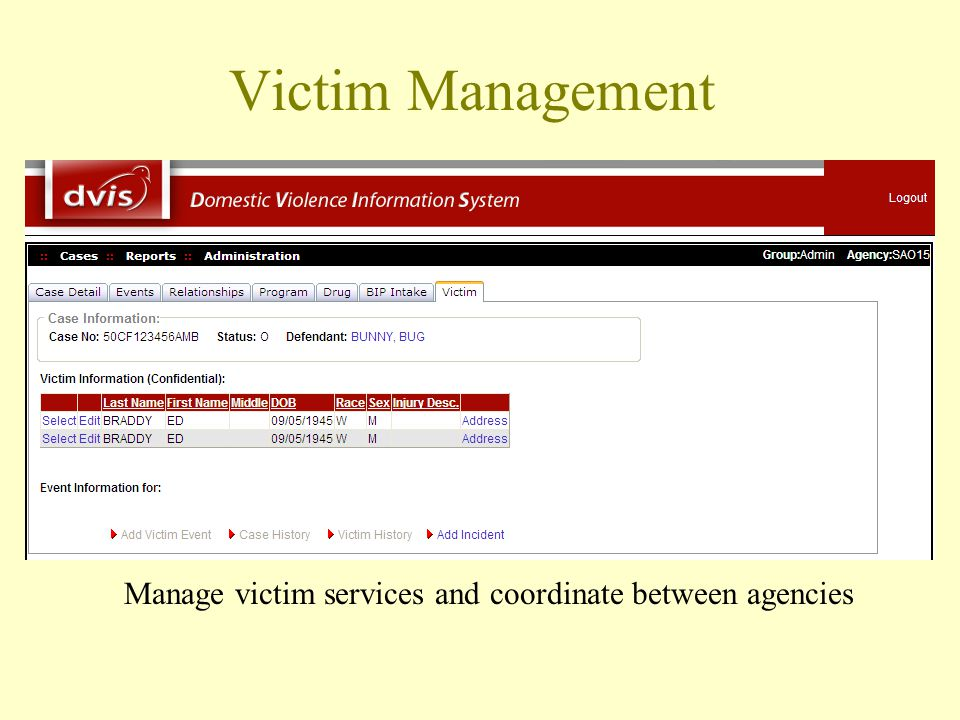 Victim Management Manage victim services and coordinate between agencies