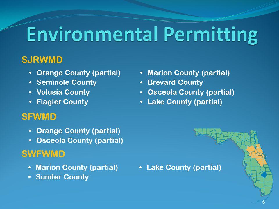 6 SJRWMD Orange County (partial) Seminole County Volusia County Flagler County Marion County (partial) Brevard County Osceola County (partial) Lake County (partial) SFWMD Orange County (partial) Osceola County (partial) SWFWMD Marion County (partial) Sumter County Lake County (partial)