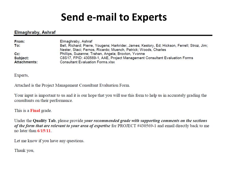 Send e-mail to Experts  Per ERC List of Reviewers