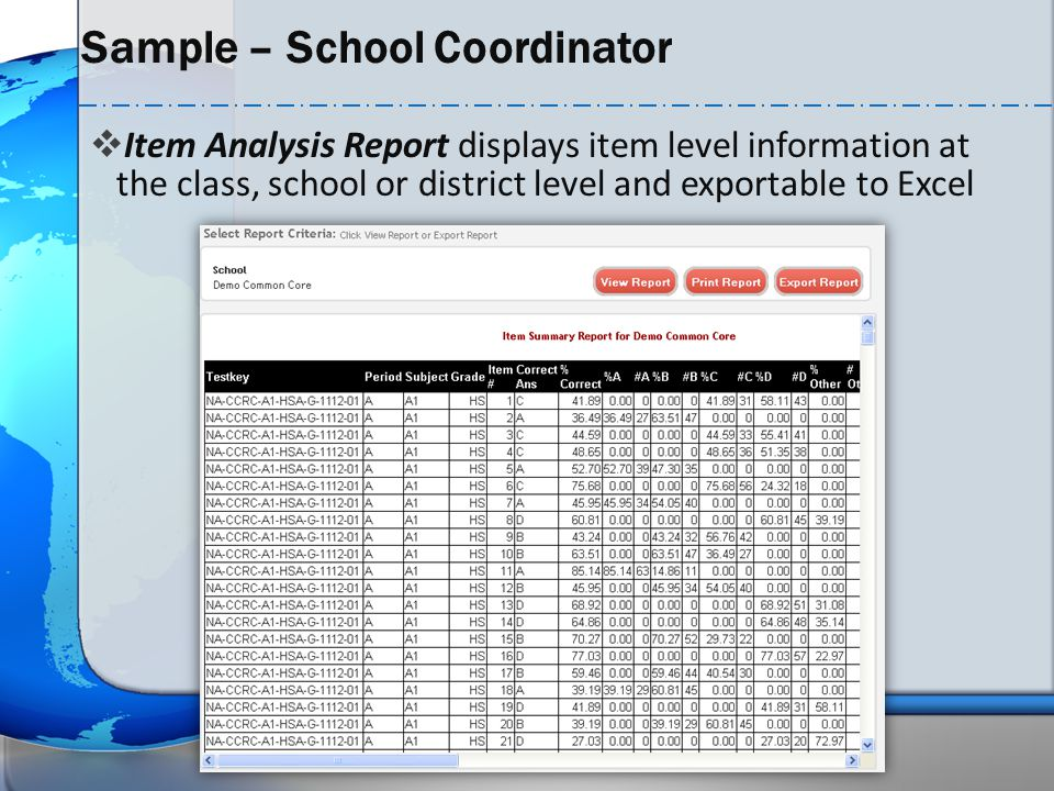  Item Analysis Report displays item level information at the class, school or district level and exportable to Excel Sample – School Coordinator