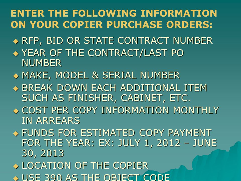  RFP, BID OR STATE CONTRACT NUMBER  YEAR OF THE CONTRACT/LAST PO NUMBER  MAKE, MODEL & SERIAL NUMBER  BREAK DOWN EACH ADDITIONAL ITEM SUCH AS FINISHER, CABINET, ETC.