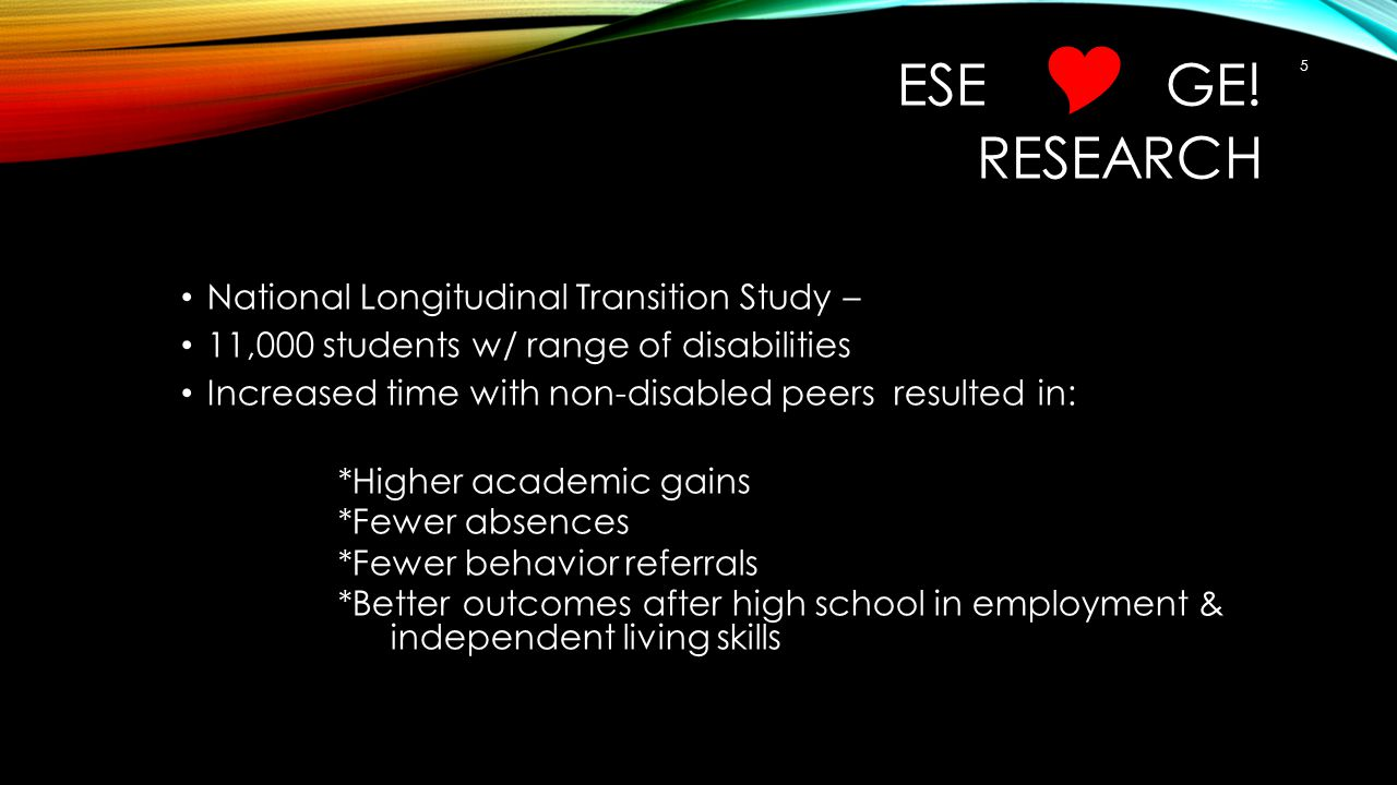 ESE  GE! RESEARCH National Longitudinal Transition Study – 11,000 students w/ range of disabilities Increased time with non-disabled peers resulted i