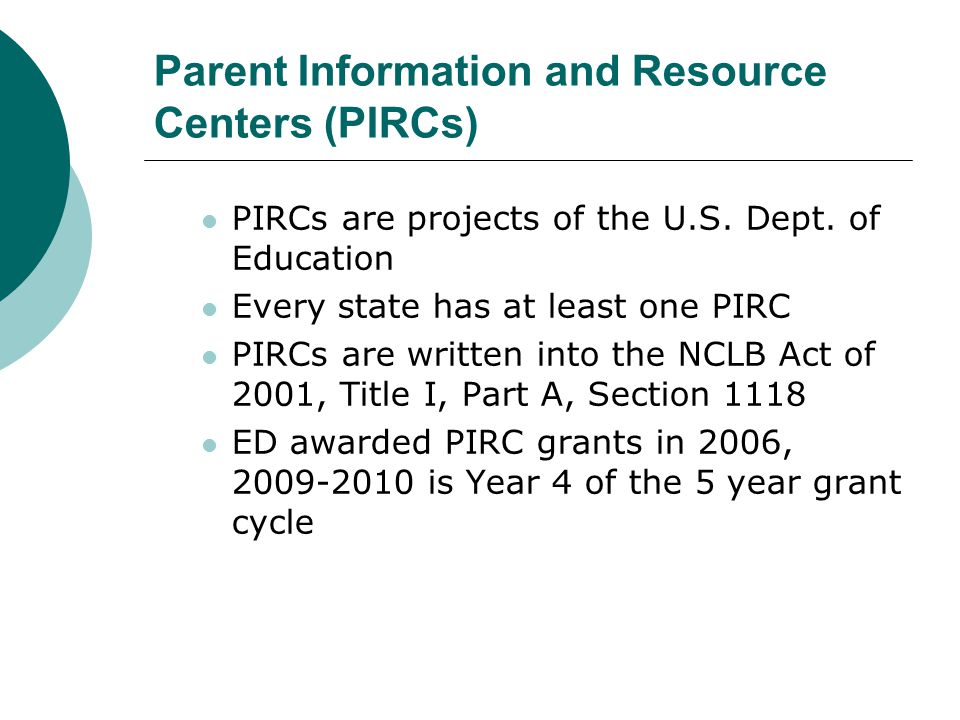Parent Information and Resource Centers (PIRCs) PIRCs are projects of the U.S. Dept. of Education Every state has at least one PIRC PIRCs are written