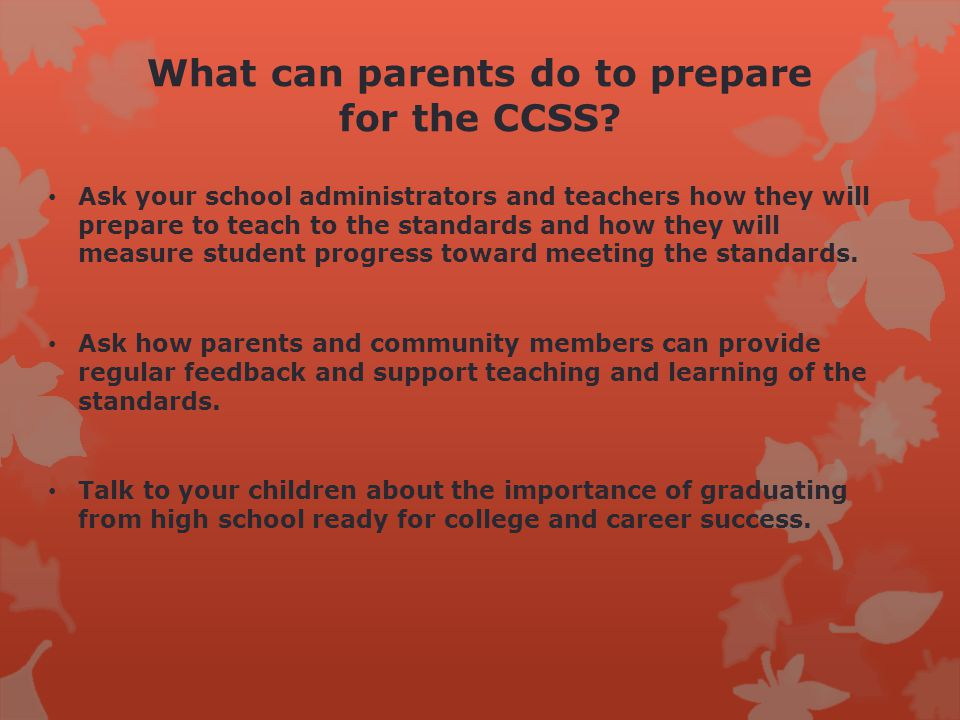 What can parents do to prepare for the CCSS.