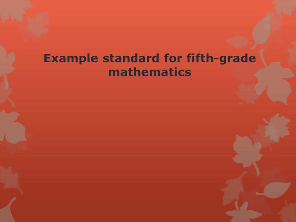 Example standard for fifth-grade mathematics