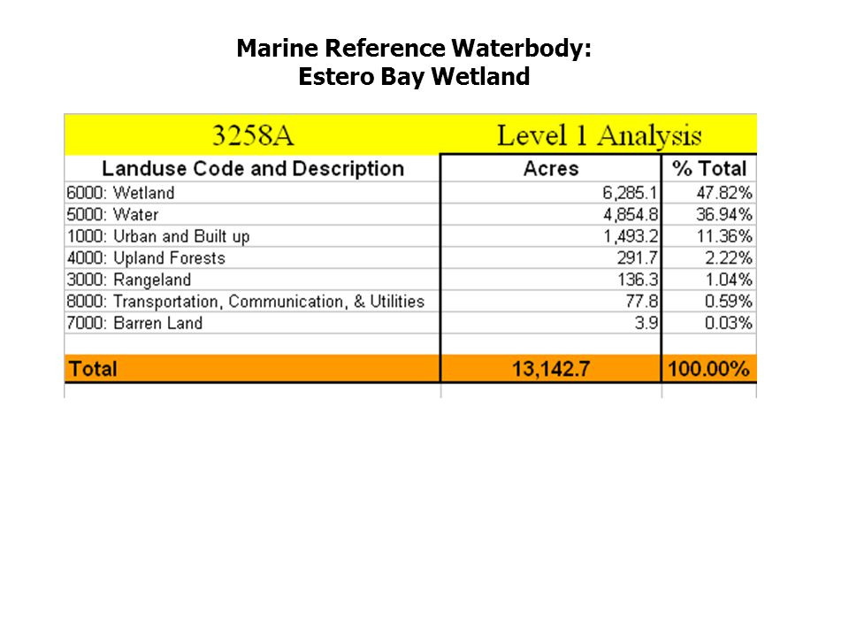 Marine Reference Waterbody: Estero Bay Wetland
