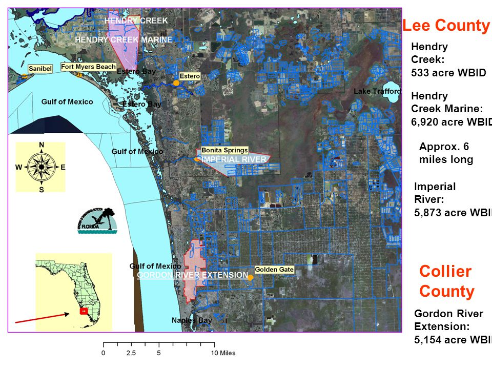 Hendry Creek Marine: 6,920 acre WBID Hendry Creek: 533 acre WBID Imperial River: 5,873 acre WBID Gordon River Extension: 5,154 acre WBID Lee County Co