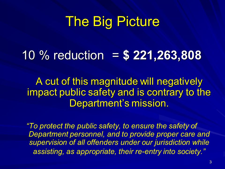 3 The Big Picture 10 % reduction = $ 221,263,808 A cut of this magnitude will negatively impact public safety and is contrary to the Department's miss