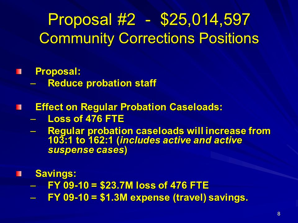 8 Proposal #2 - $25,014,597 Community Corrections Positions Proposal: –Reduce probation staff Effect on Regular Probation Caseloads: –Loss of 476 FTE