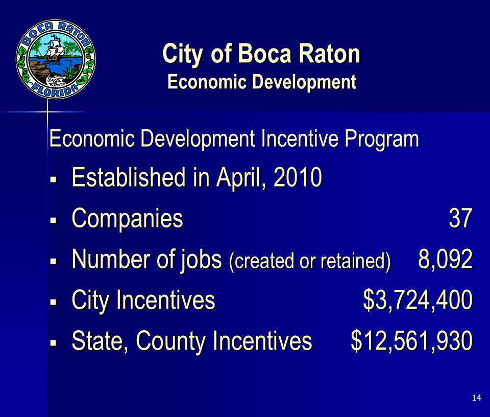 City of Boca Raton Economic Development Economic Development Incentive Program  Established in April, 2010  Companies37  Number of jobs (created or retained) 8,092  City Incentives$3,724,400  State, County Incentives$12,561,930 14