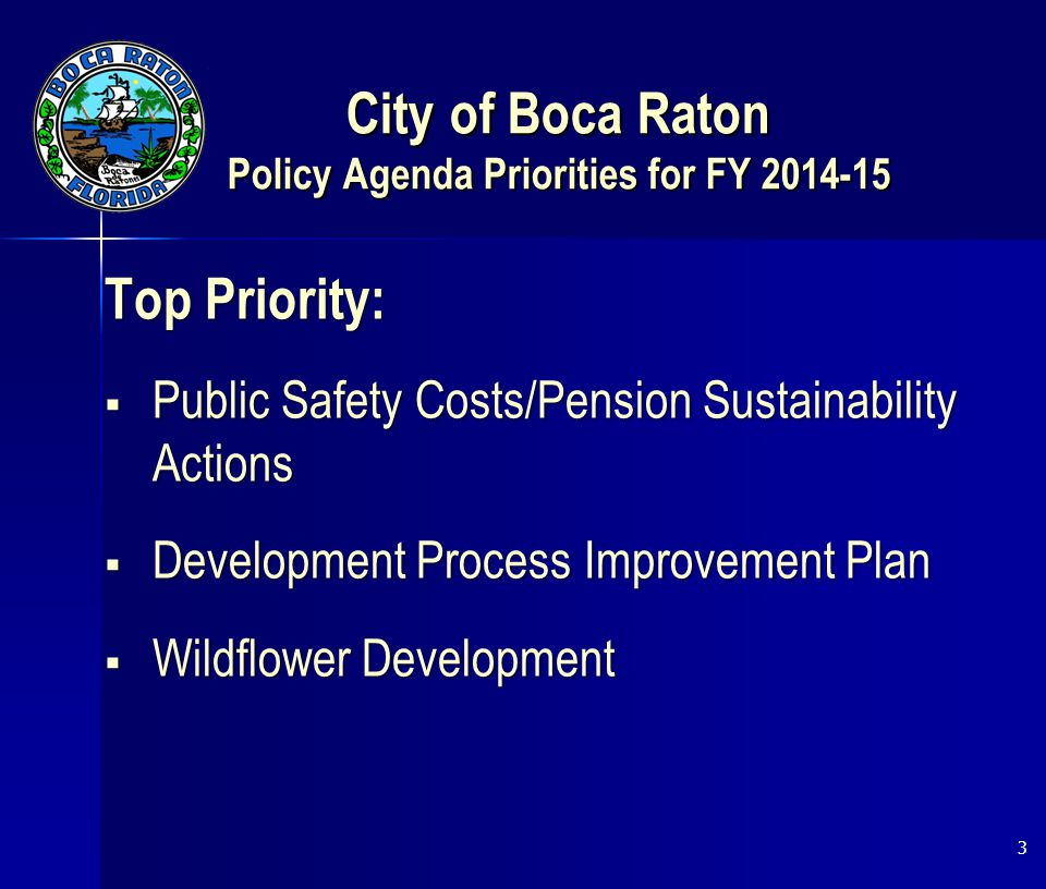 City of Boca Raton Policy Agenda Priorities for FY 2014-15 Top Priority:  Public Safety Costs/Pension Sustainability Actions  Development Process Improvement Plan  Wildflower Development 3