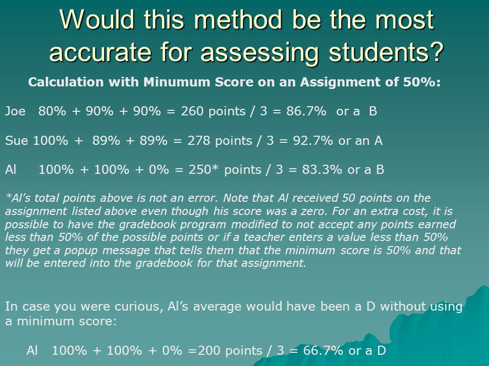 Would this method be the most accurate for assessing students.