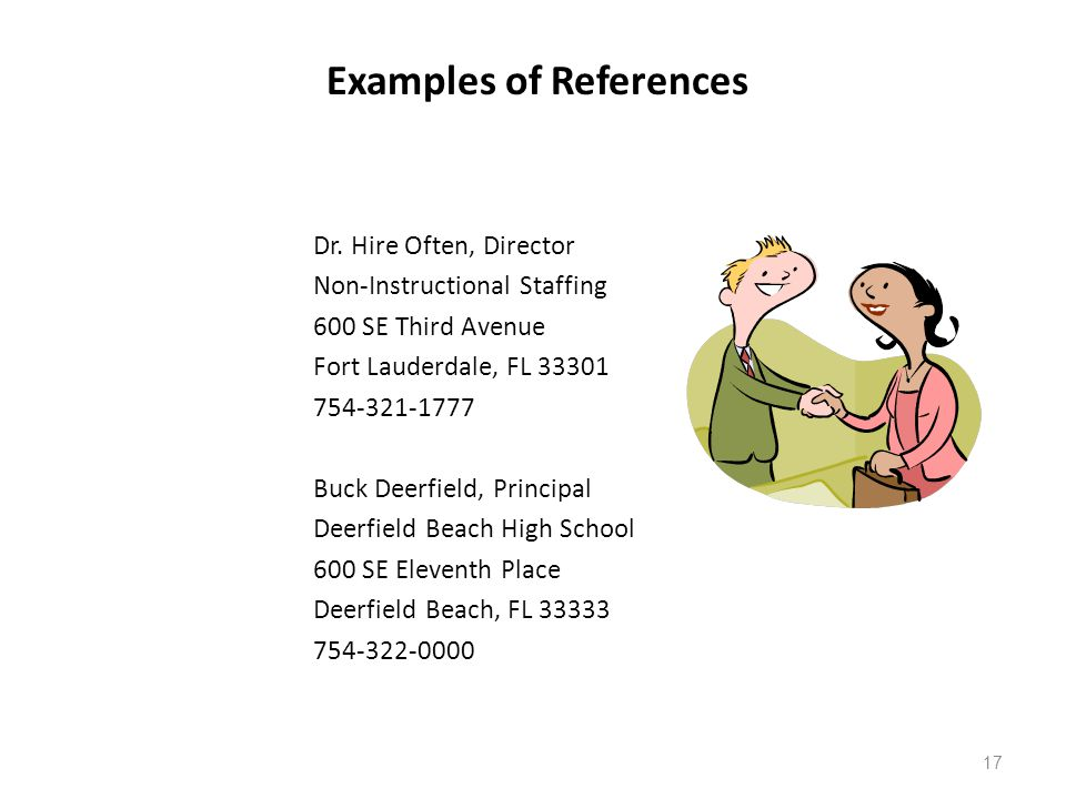 Examples of References Dr.