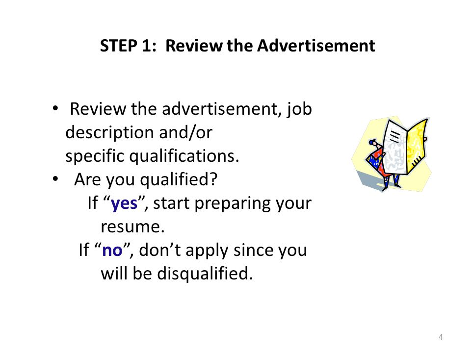 "STEP 1: Review the Advertisement Review the advertisement, job description and/or specific qualifications. Are you qualified? If ""yes"", start preparin"