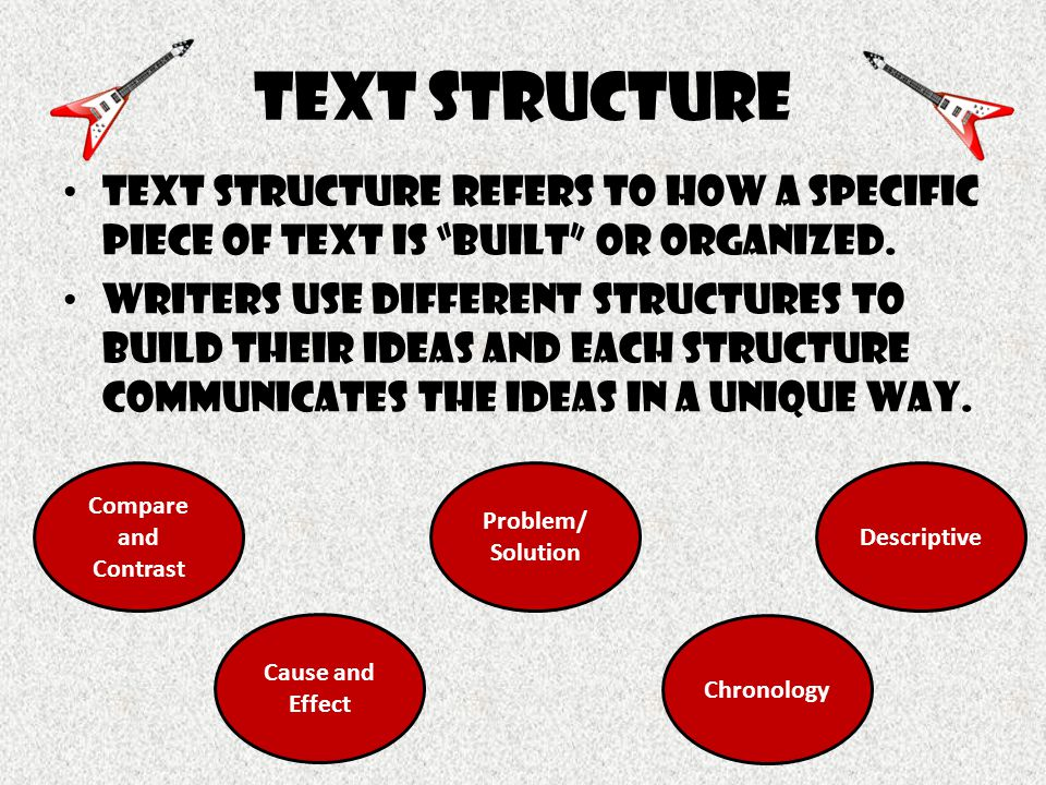 "Text structure Text structure refers to how a specific piece of text is ""built"" or organized. Writers use different structures to build their ideas an"