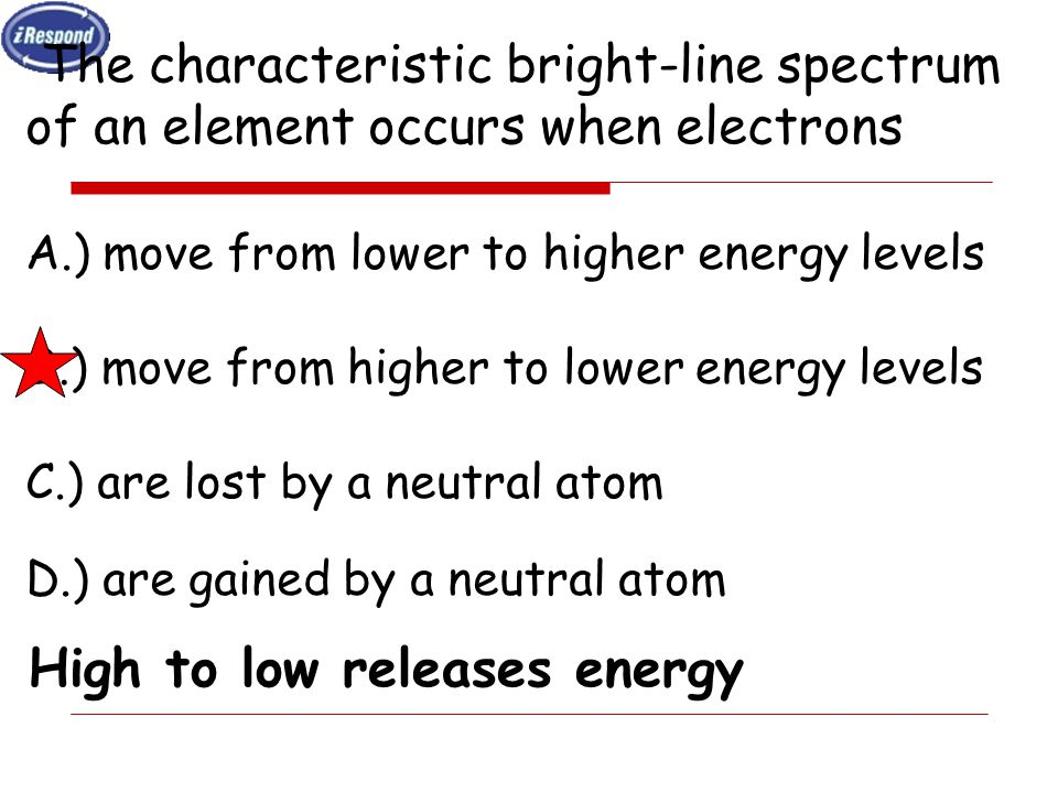 The characteristic bright-line spectrum of an element occurs when electrons A.) move from lower to higher energy levels B.) move from higher to lower energy levels C.) are lost by a neutral atom D.) are gained by a neutral atom High to low releases energy