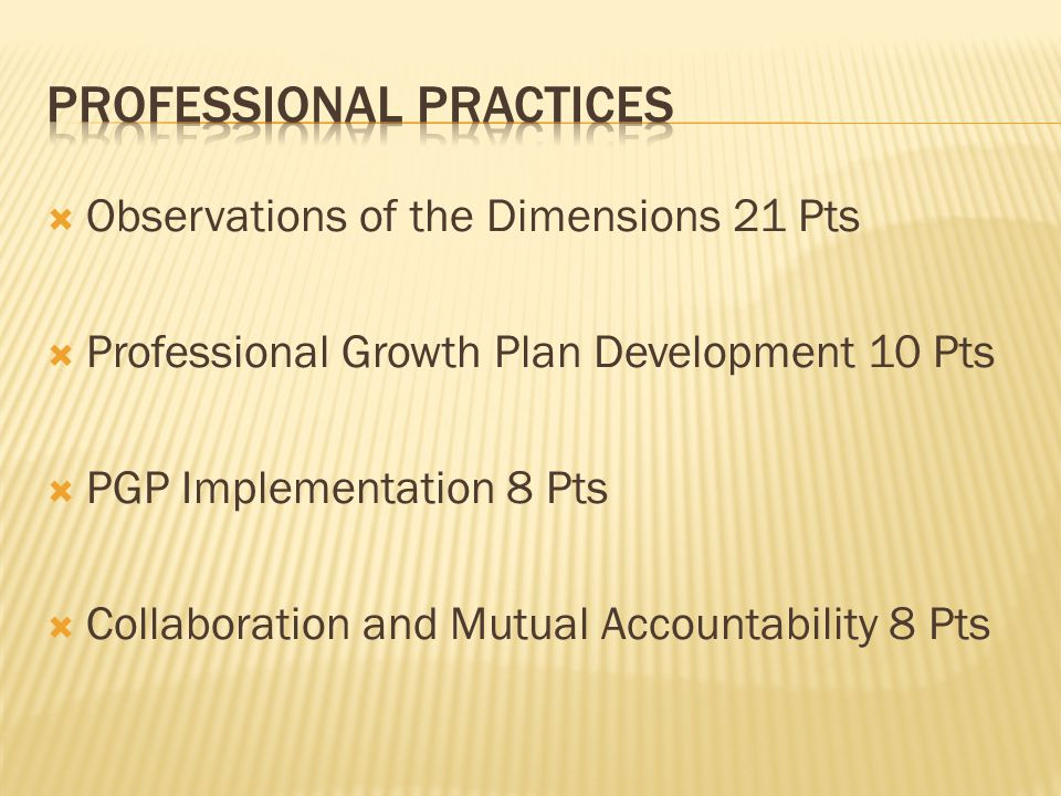  Observations of the Dimensions 21 Pts  Professional Growth Plan Development 10 Pts  PGP Implementation 8 Pts  Collaboration and Mutual Accountabi