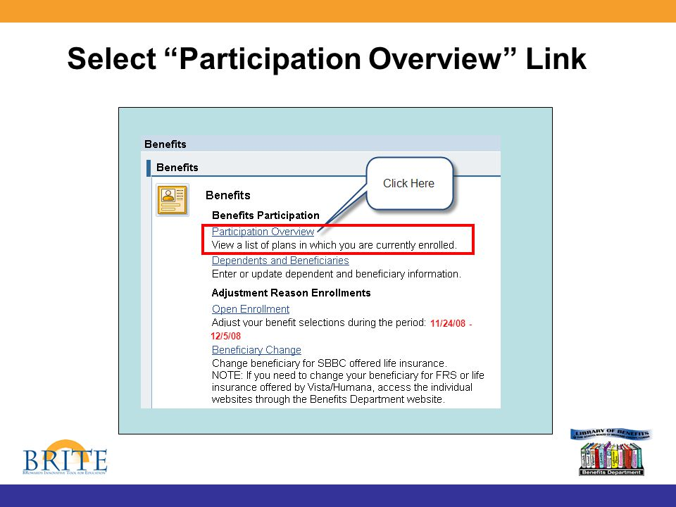 Select Participation Overview Link 11/24/08 - 12/5/08