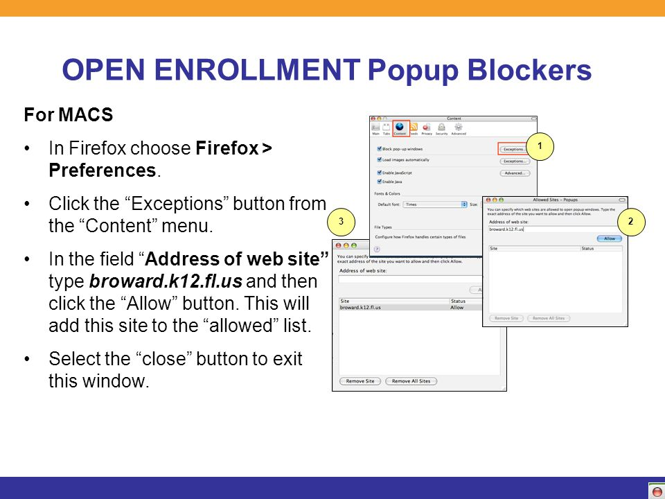 OPEN ENROLLMENT Popup Blockers For MACS In Firefox choose Firefox > Preferences.