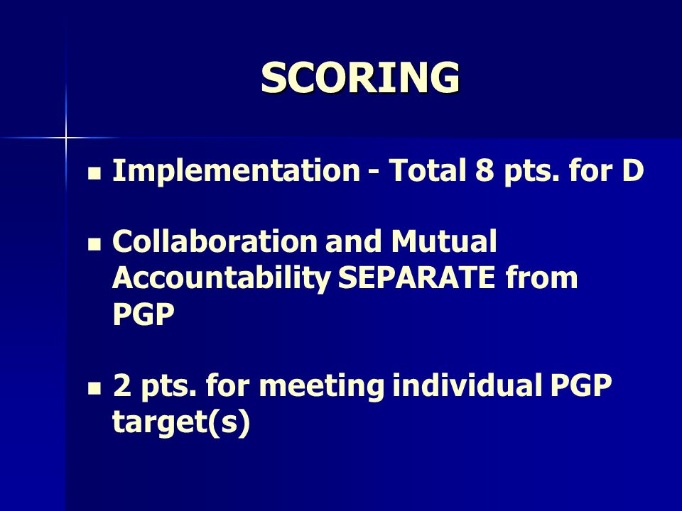 SCORING Implementation - Total 8 pts.