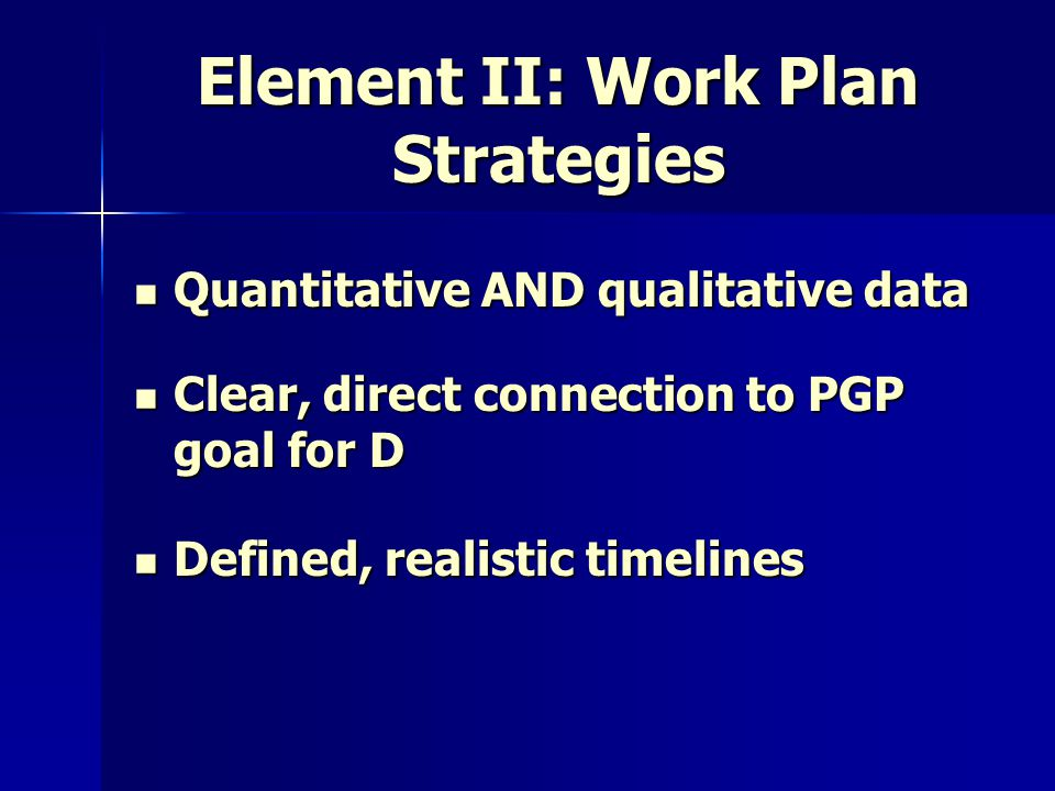 Element II: Work Plan Strategies Quantitative AND qualitative data Quantitative AND qualitative data Clear, direct connection to PGP goal for D Clear, direct connection to PGP goal for D Defined, realistic timelines Defined, realistic timelines