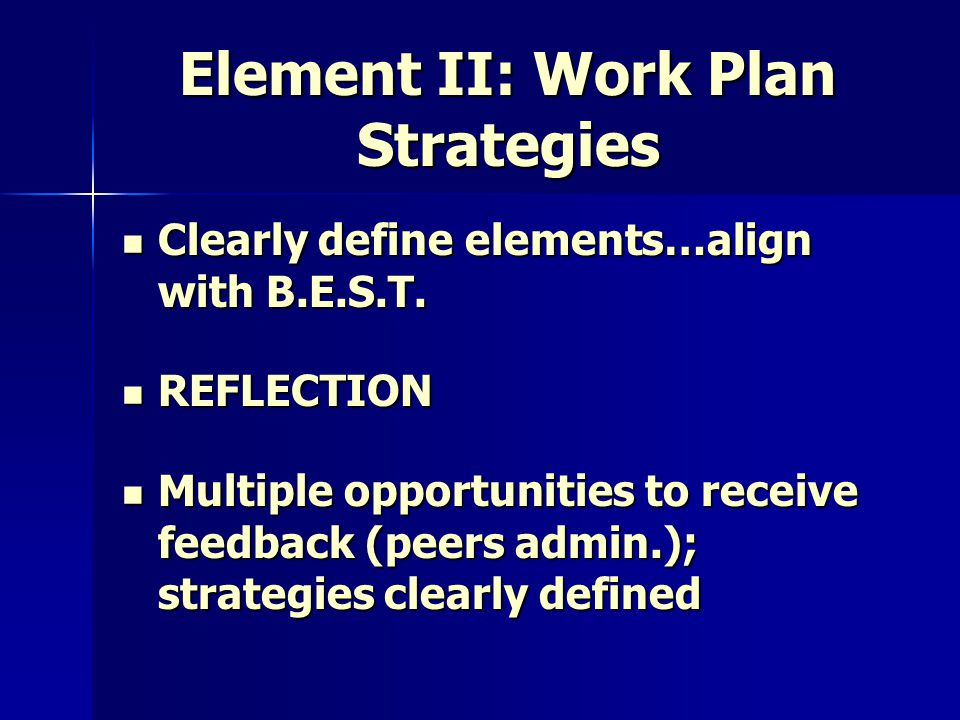 Element II: Work Plan Strategies Clearly define elements…align with B.E.S.T. Clearly define elements…align with B.E.S.T. REFLECTION REFLECTION Multipl