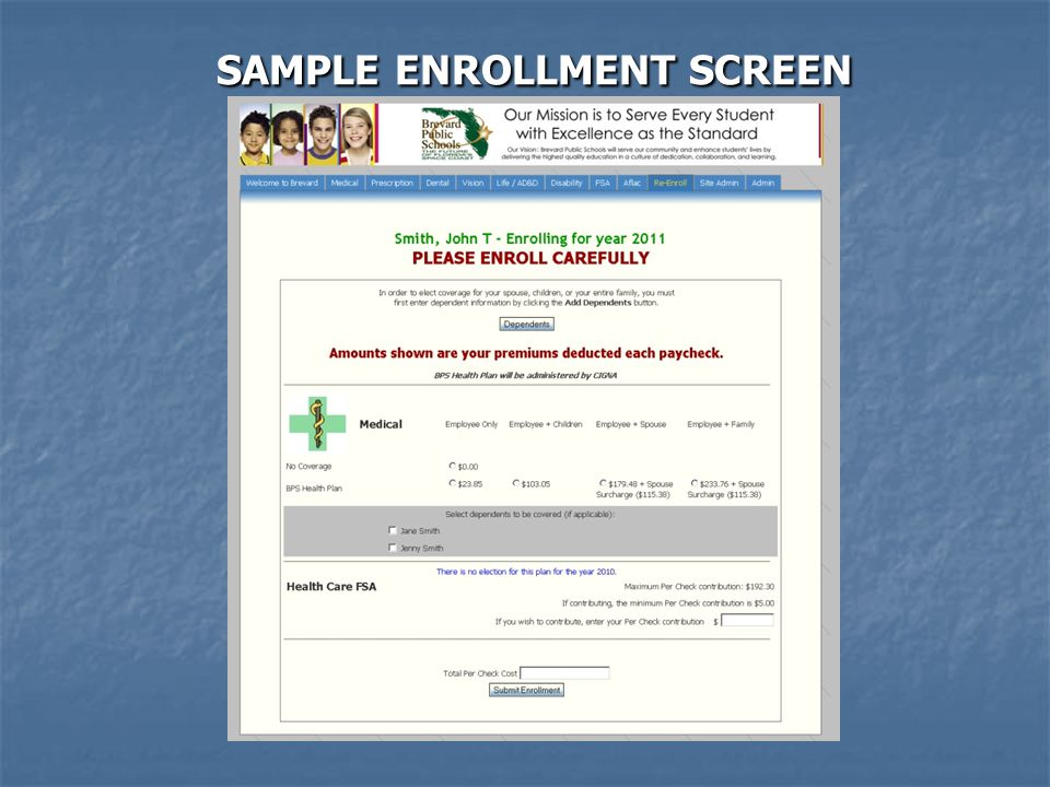 SAMPLE ENROLLMENT SCREEN SAMPLE ENROLLMENT SCREEN