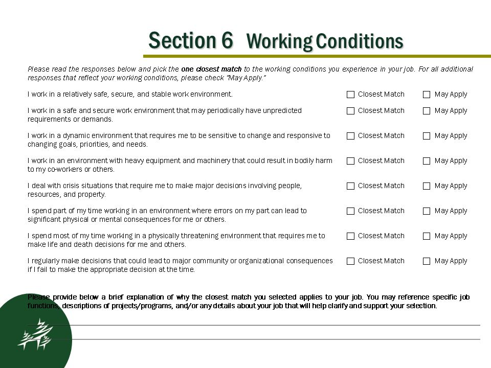 Section 6 Working Conditions Kickoff Results After