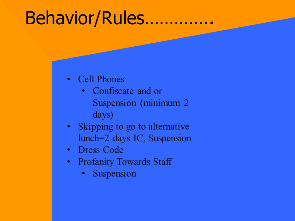 In School Suspension (IC) Must abide by rules Automatic suspension if you do not.