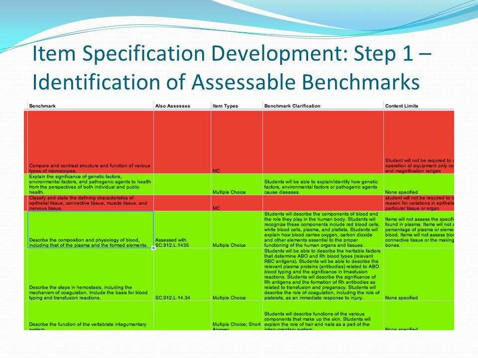Item Specification Development: Step 1 – Identification of Assessable Benchmarks
