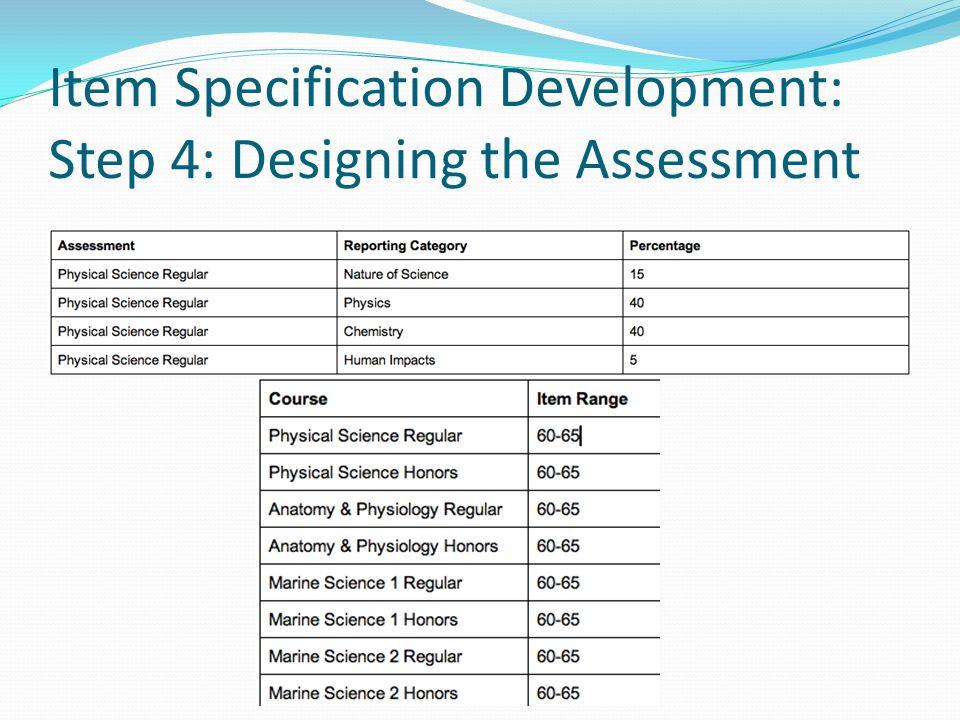Item Specification Development: Step 4: Designing the Assessment