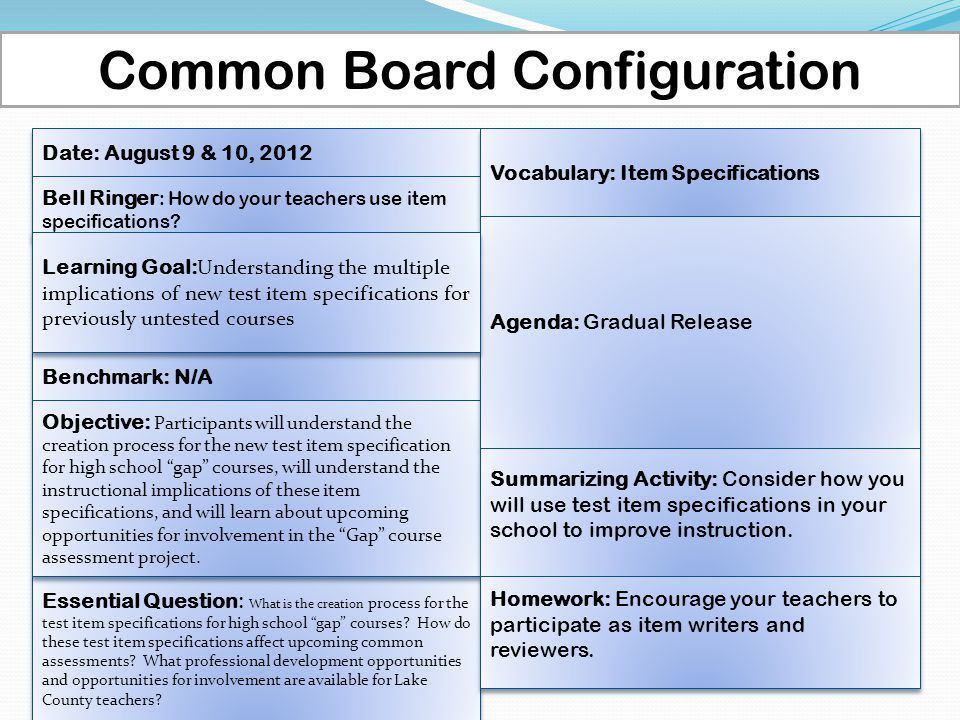 Common Board Configuration Date: August 9 & 10, 2012 Benchmark: N/A Bell Ringer : How do your teachers use item specifications? Essential Question: Wh