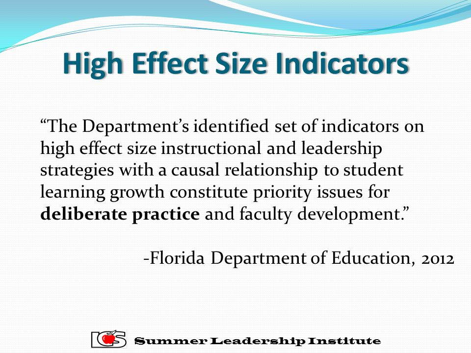 High Effect Size IndicatorsHigh Effect Size Indicators Summer Leadership Institute The Department's identified set of indicators on high effect size instructional and leadership strategies with a causal relationship to student learning growth constitute priority issues for deliberate practice and faculty development. -Florida Department of Education, 2012