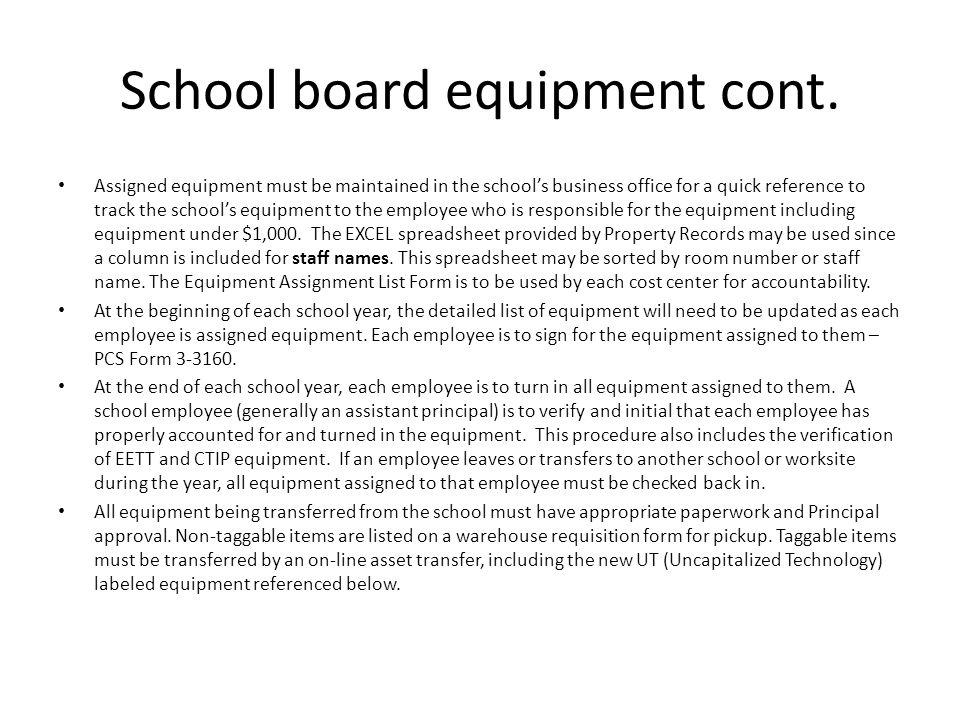 School board equipment cont.