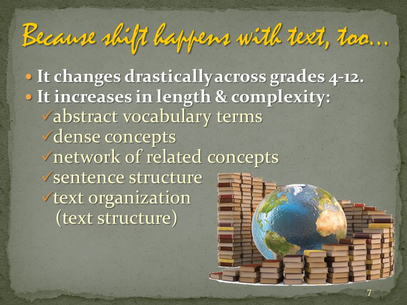 It changes drastically across grades 4-12. It changes drastically across grades 4-12. It increases in length & complexity: It increases in length & co