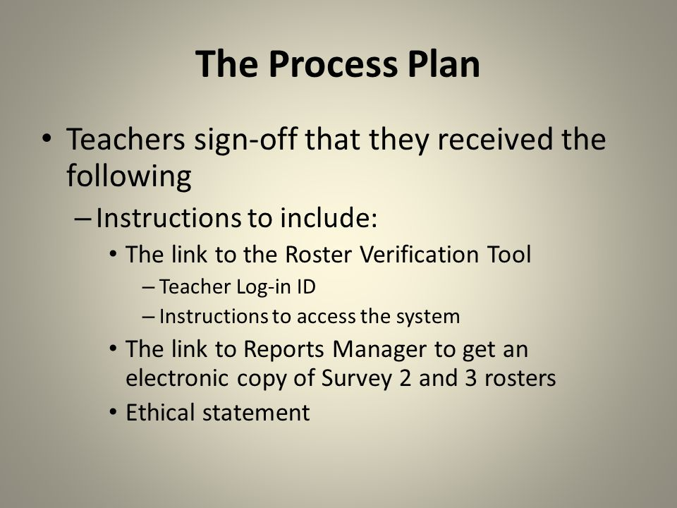 The Process Plan Information will be communicated to – Administrators – Teachers Hard copies sent to schools: – Instruction sheets and sign-off sheet