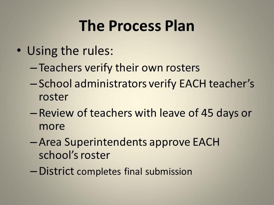 The Process Plan Teachers sign-off that they received the following – Instructions to include: The link to the Roster Verification Tool – Teacher Log-in ID – Instructions to access the system The link to Reports Manager to get an electronic copy of Survey 2 and 3 rosters Ethical statement