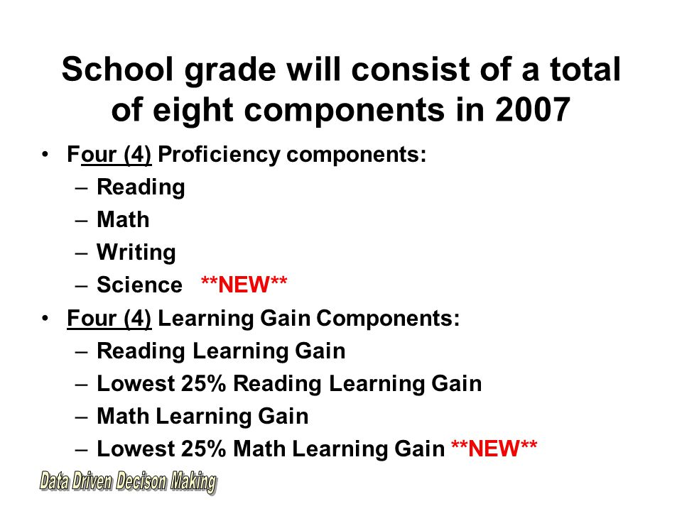 School grade will consist of a total of eight components in 2007 Four (4) Proficiency components: –Reading –Math –Writing –Science **NEW** Four (4) Learning Gain Components: –Reading Learning Gain –Lowest 25% Reading Learning Gain –Math Learning Gain –Lowest 25% Math Learning Gain **NEW**