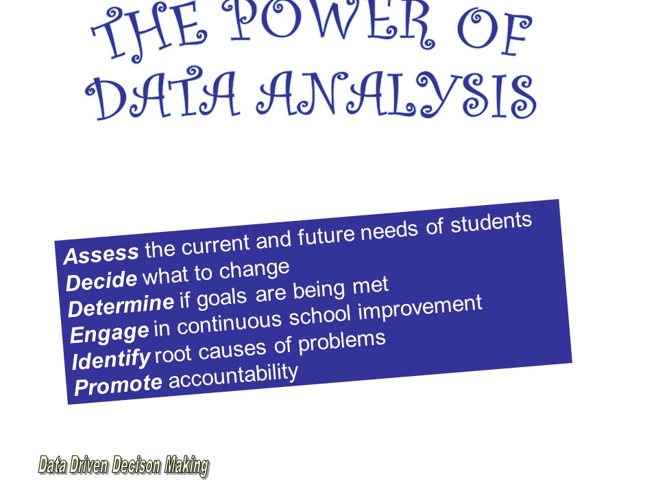Assess the current and future needs of students Decide what to change Determine if goals are being met Engage in continuous school improvement Identify root causes of problems Promote accountability