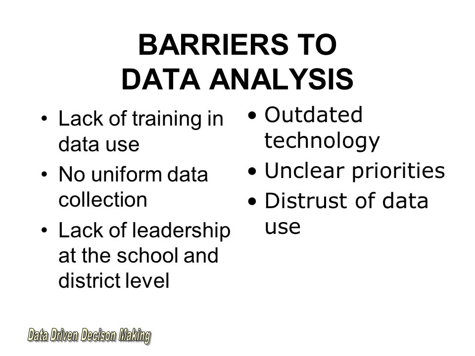 BARRIERS TO DATA ANALYSIS Lack of training in data use No uniform data collection Lack of leadership at the school and district level Outdated technology Unclear priorities Distrust of data use