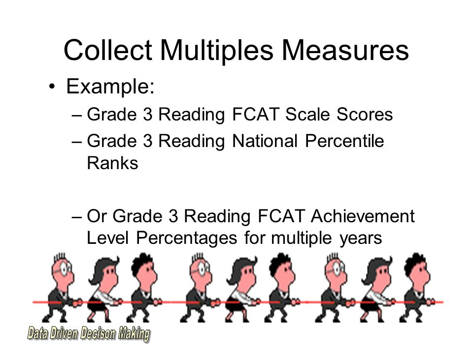 Collect Multiples Measures Example: –Grade 3 Reading FCAT Scale Scores –Grade 3 Reading National Percentile Ranks –Or Grade 3 Reading FCAT Achievement Level Percentages for multiple years