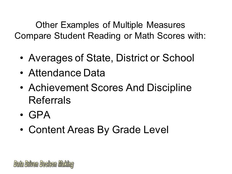 Other Examples of Multiple Measures Compare Student Reading or Math Scores with: Averages of State, District or School Attendance Data Achievement Scores And Discipline Referrals GPA Content Areas By Grade Level