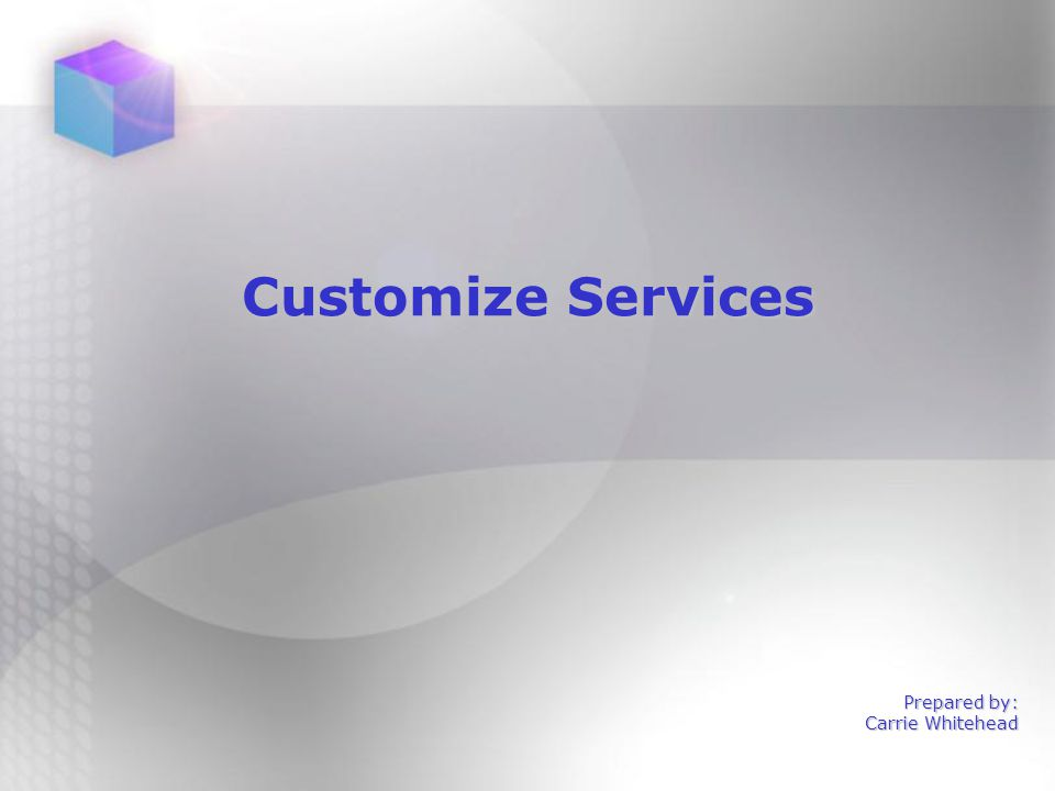 4 The Customize Services tab defaults to the Searching subtab.