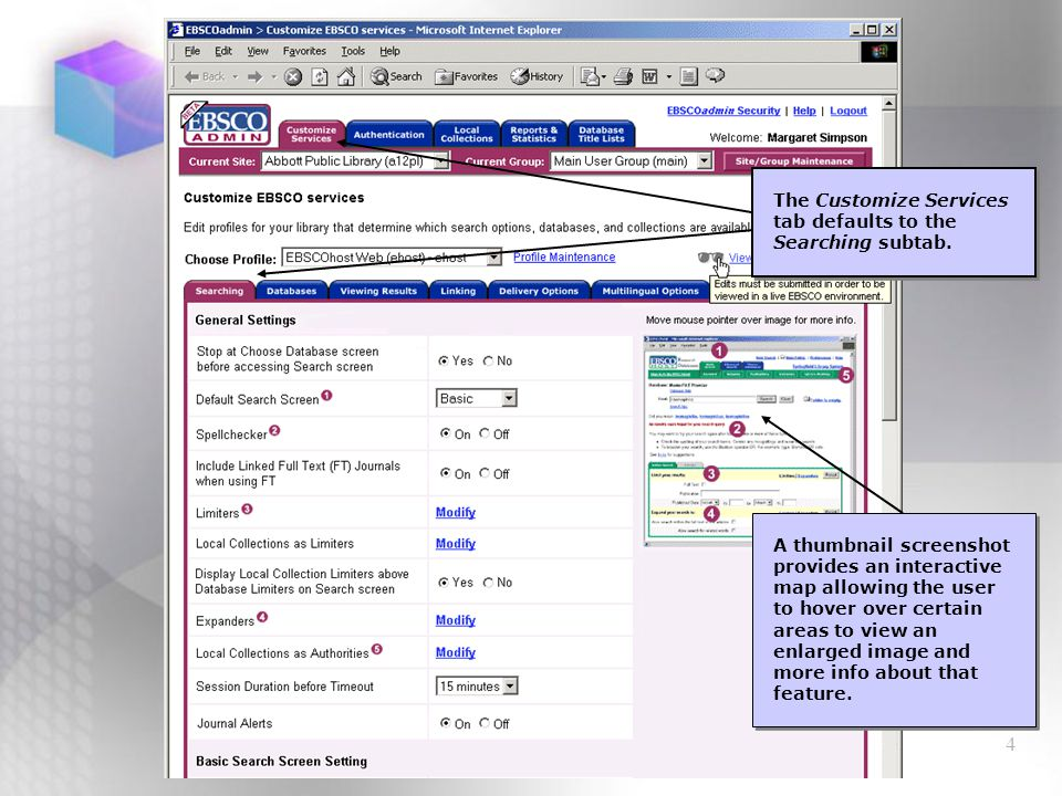 15 If there are no additional databases available the Add New Databases link is not displayed.