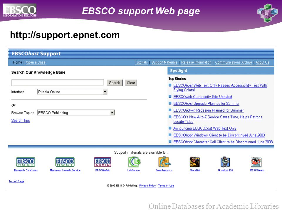 Online Databases for Academic Libraries http://support.epnet.com EBSCO support Web page