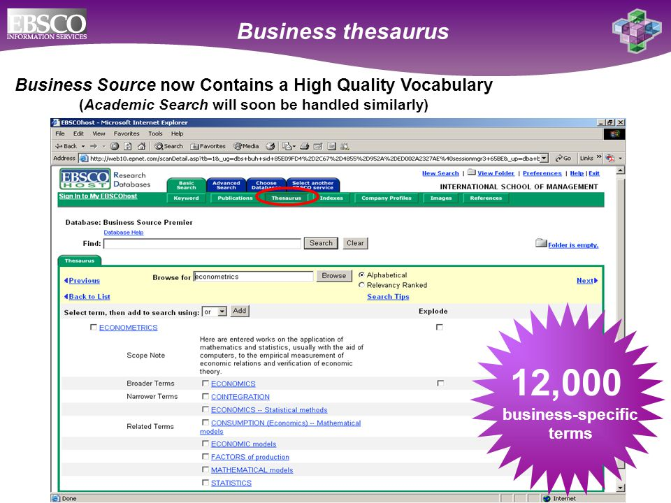 Online Databases for Academic Libraries Business Source now Contains a High Quality Vocabulary (Academic Search will soon be handled similarly) Business thesaurus 12,000 business-specific terms