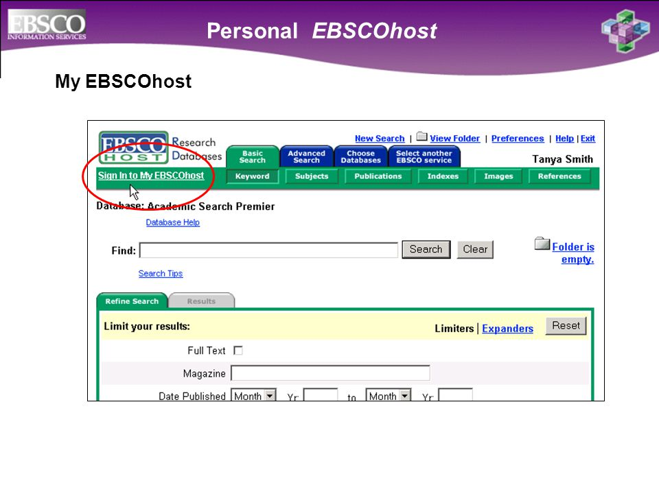 Personal EBSCOhost My EBSCOhost