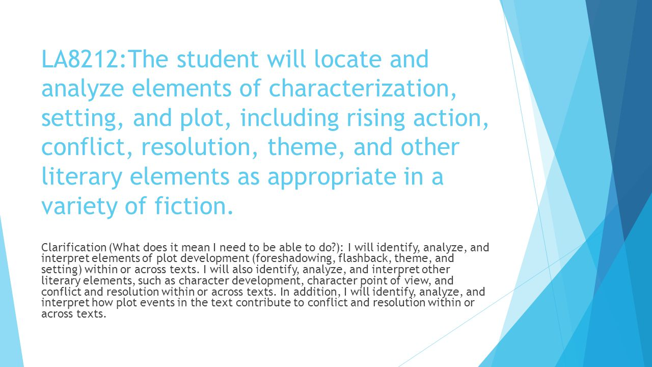 LA8212:The student will locate and analyze elements of characterization, setting, and plot, including rising action, conflict, resolution, theme, and
