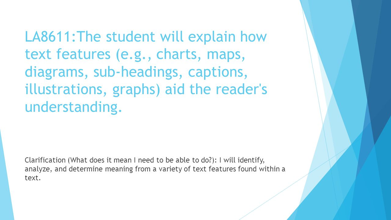 LA8611:The student will explain how text features (e.g., charts, maps, diagrams, sub-headings, captions, illustrations, graphs) aid the reader's under