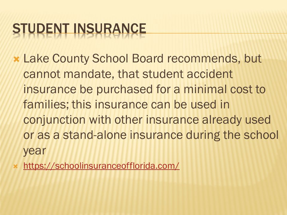 Lake County School Board recommends, but cannot mandate, that student accident insurance be purchased for a minimal cost to families; this insurance